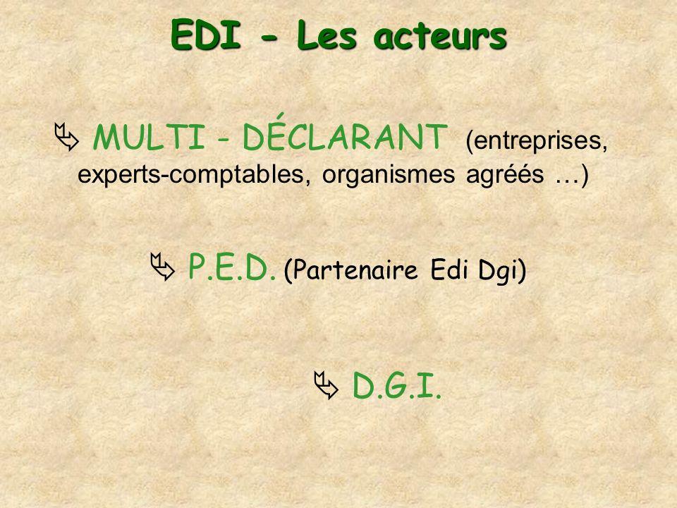 EDI - Les acteurs MULTI - DÉCLARANT (entreprises, experts-comptables, organismes agréés …) P.E.D. (Partenaire Edi Dgi) D.G.I.