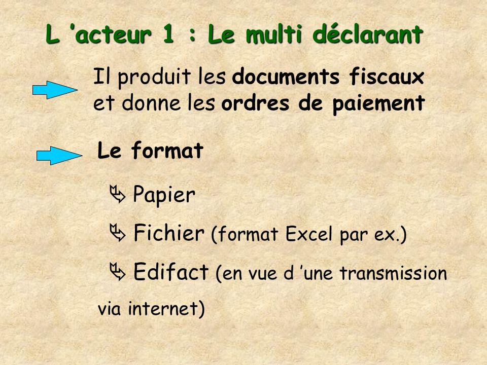 L acteur 1 : Le multi déclarant Il produit les documents fiscaux et donne les ordres de paiement Le format Papier Fichier (format Excel par ex.) Edifa
