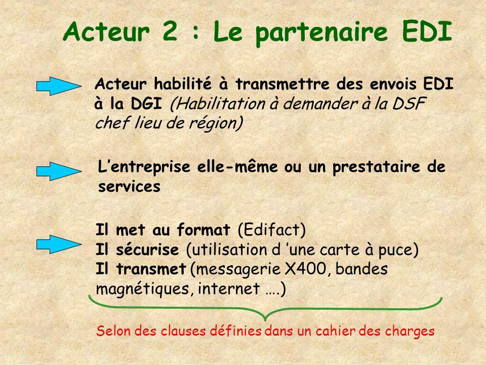 Acteur 2 : Le partenaire EDI Acteur habilité à transmettre des envois EDI à la DGI (Habilitation à demander à la DSF chef lieu de région) Lentreprise