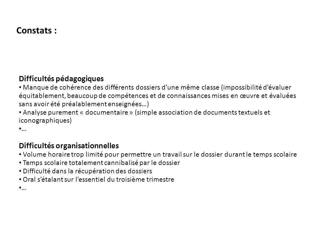 Constats : Difficultés pédagogiques Manque de cohérence des différents dossiers dune même classe (impossibilité dévaluer équitablement, beaucoup de co