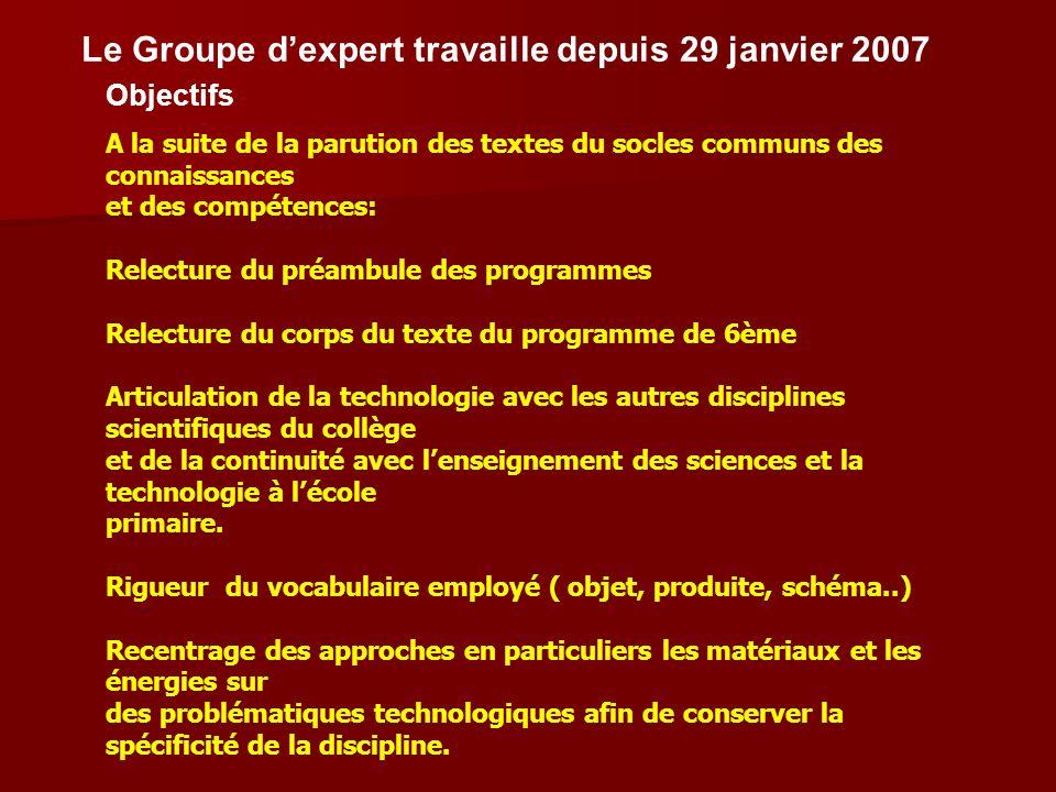 Le Groupe dexpert travaille depuis 29 janvier 2007 Objectifs A la suite de la parution des textes du socles communs des connaissances et des compétenc