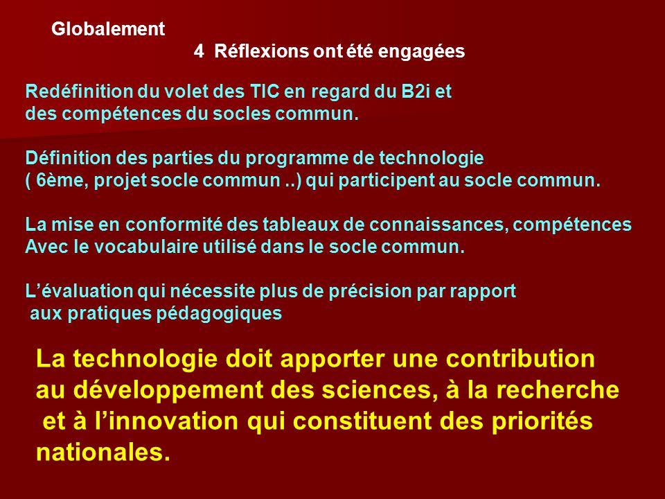 Globalement 4 Réflexions ont été engagées Redéfinition du volet des TIC en regard du B2i et des compétences du socles commun. Définition des parties d