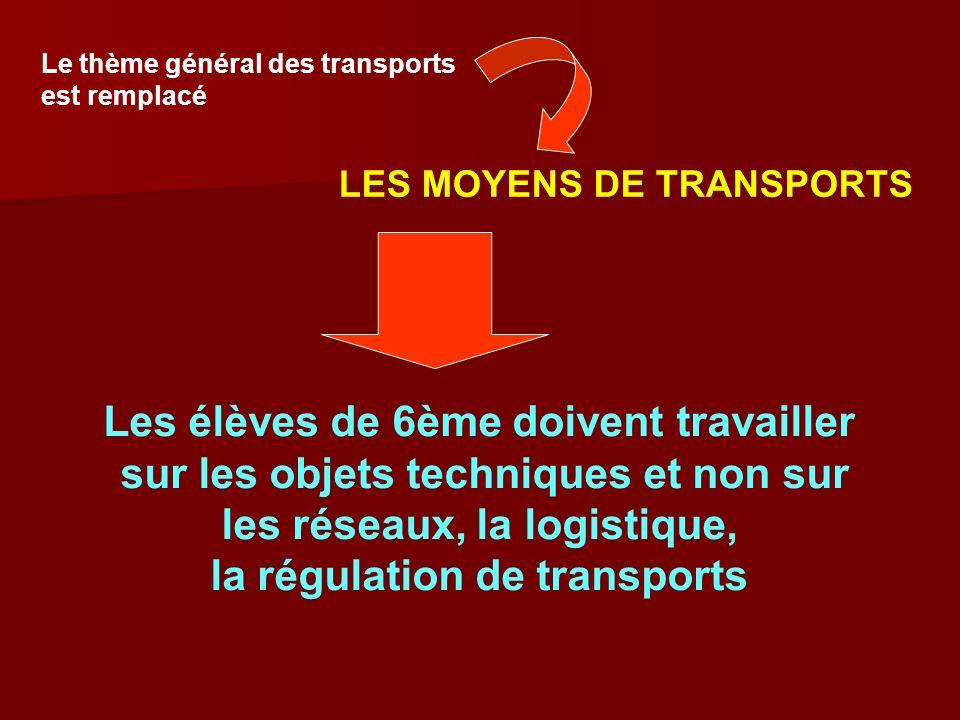Le thème général des transports est remplacé LES MOYENS DE TRANSPORTS Les élèves de 6ème doivent travailler sur les objets techniques et non sur les r