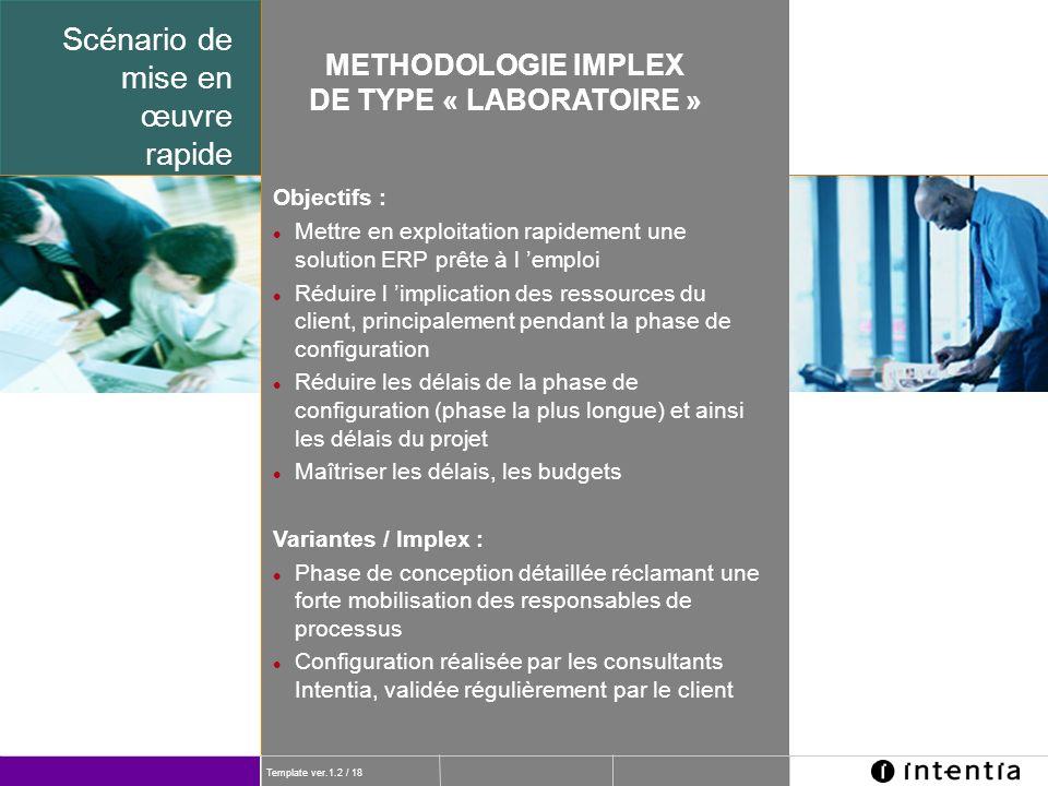 Template ver.1.2 / 18 Scénario de mise en œuvre rapide METHODOLOGIE IMPLEX DE TYPE « LABORATOIRE » Objectifs : Mettre en exploitation rapidement une s
