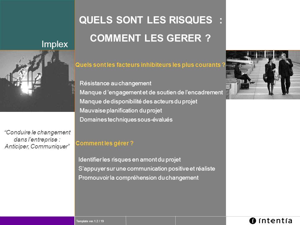 Template ver.1.2 / 19 Implex QUELS SONT LES RISQUES : COMMENT LES GERER ? Résistance au changement Manque d engagement et de soutien de lencadrement M
