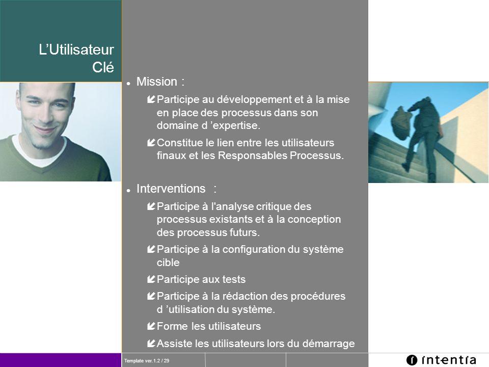 Template ver.1.2 / 29 l Mission : íParticipe au développement et à la mise en place des processus dans son domaine d expertise. íConstitue le lien ent