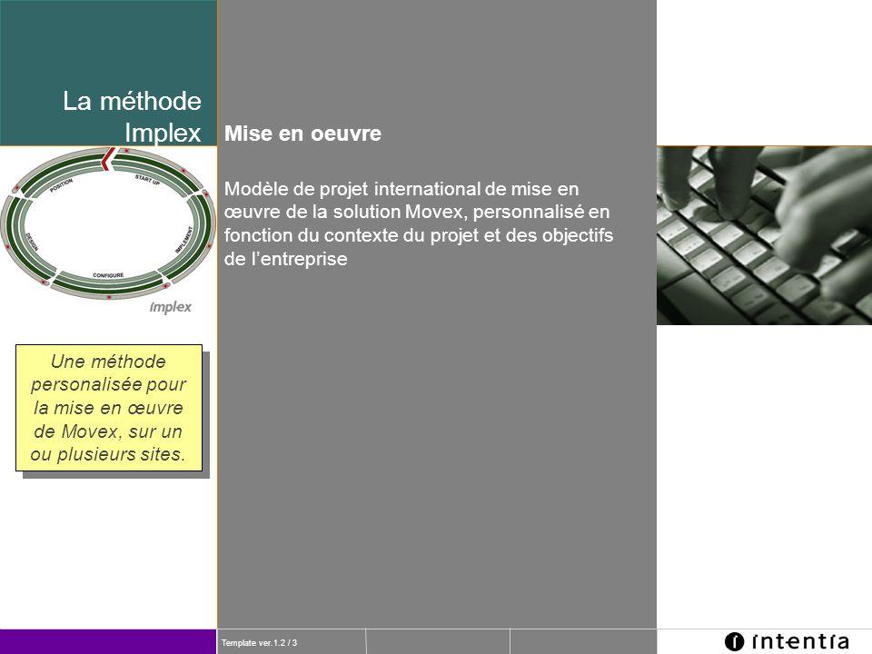 Template ver.1.2 / 3 La méthode Implex Une méthode personalisée pour la mise en œuvre de Movex, sur un ou plusieurs sites. Modèle de projet internatio