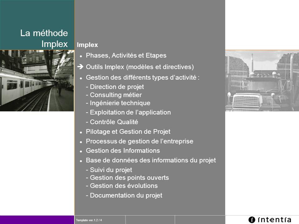 Template ver.1.2 / 4 Phases, Activités et Etapes Implex Outils Implex (modèles et directives) Gestion des différents types dactivité : - Direction de