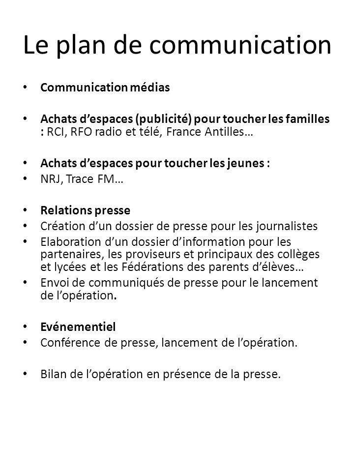 Le plan de communication Communication médias Achats despaces (publicité) pour toucher les familles : RCI, RFO radio et télé, France Antilles… Achats