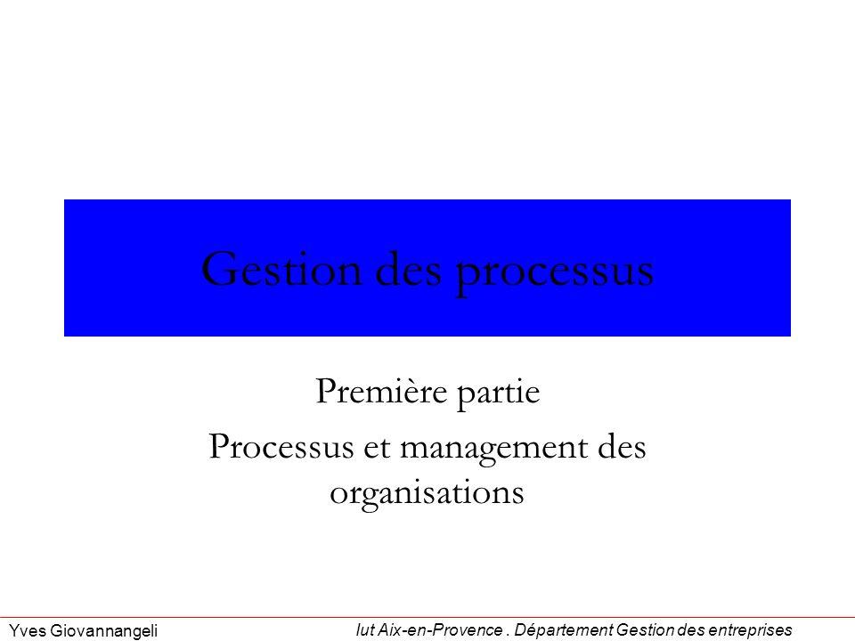 Iut Aix-en-Provence. Département Gestion des entreprises Yves Giovannangeli Gestion des processus Première partie Processus et management des organisa