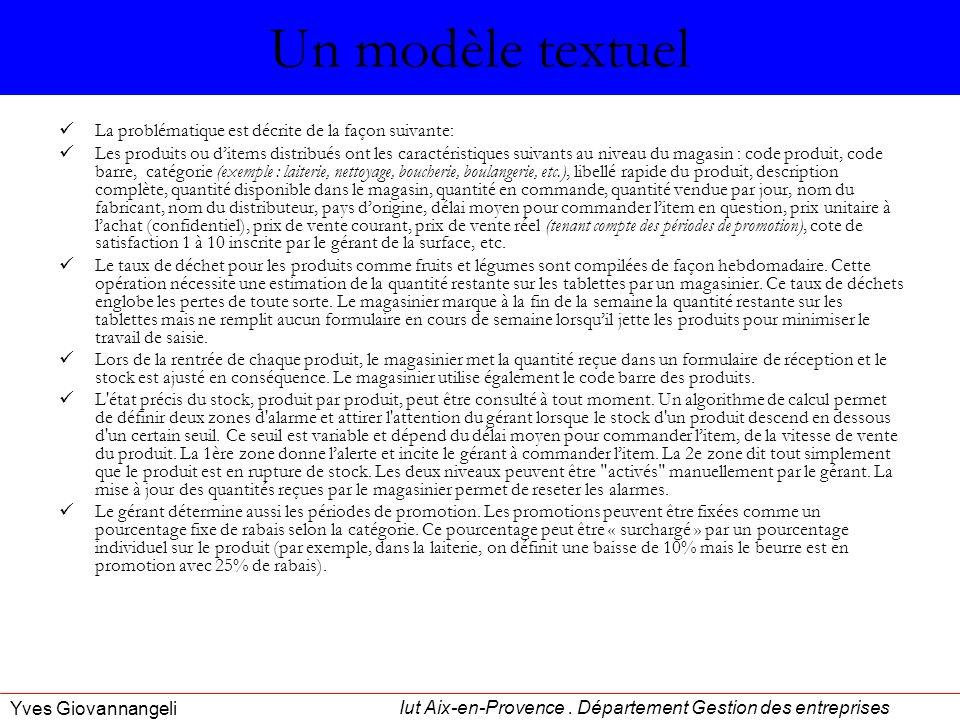 Iut Aix-en-Provence. Département Gestion des entreprises Yves Giovannangeli Un modèle textuel La problématique est décrite de la façon suivante: Les p