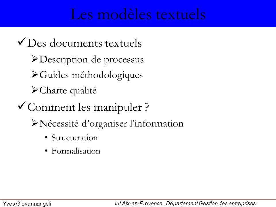 Iut Aix-en-Provence. Département Gestion des entreprises Yves Giovannangeli Les modèles textuels Des documents textuels Description de processus Guide