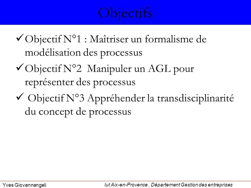Iut Aix-en-Provence. Département Gestion des entreprises Yves Giovannangeli Objectifs Objectif N°1 : Maîtriser un formalisme de modélisation des proce