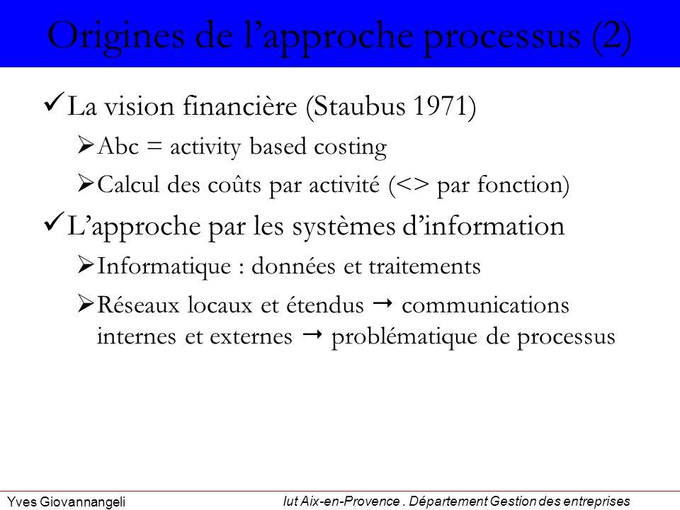 Iut Aix-en-Provence. Département Gestion des entreprises Yves Giovannangeli Origines de lapproche processus (2) La vision financière (Staubus 1971) Ab