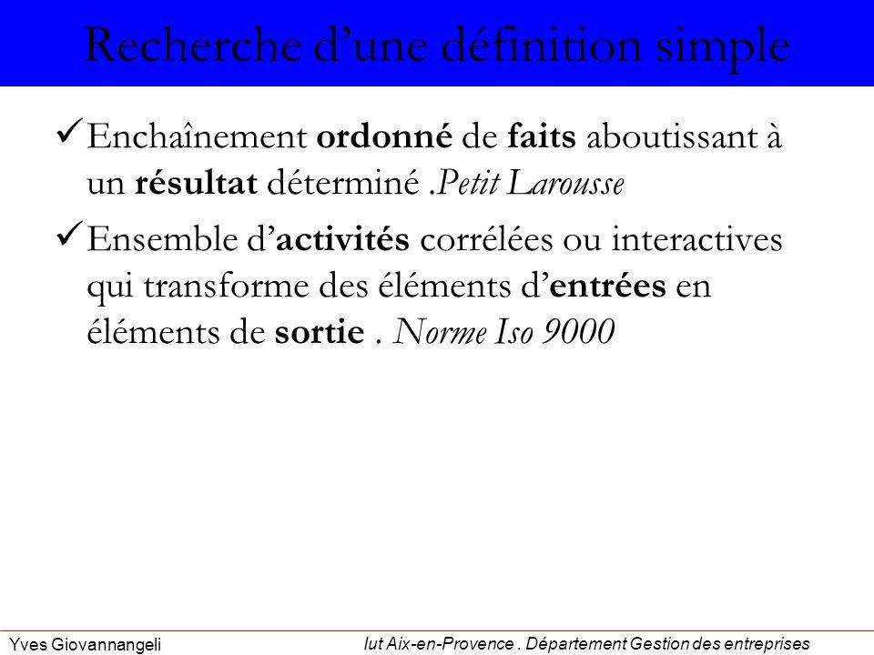 Iut Aix-en-Provence. Département Gestion des entreprises Yves Giovannangeli Recherche dune définition simple Enchaînement ordonné de faits aboutissant