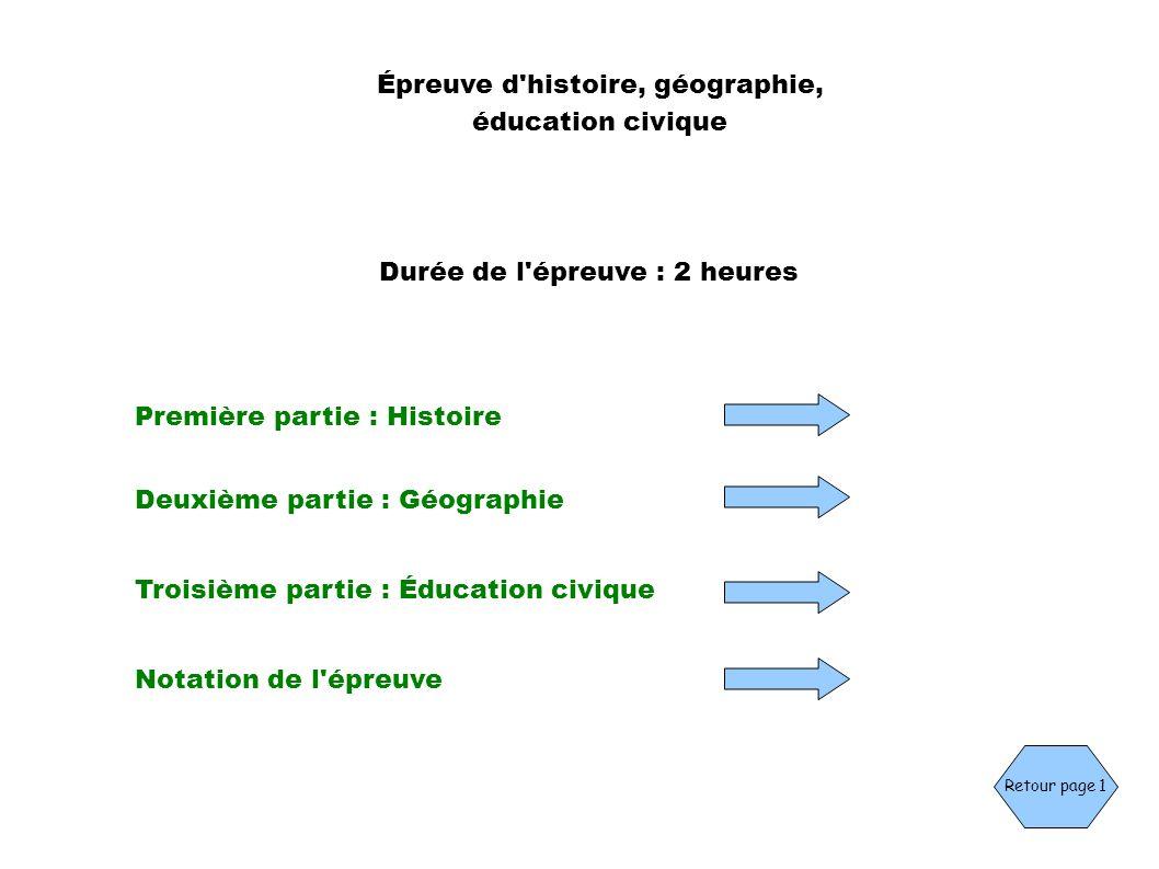 Durée de l'épreuve : 2 heures Épreuve d'histoire, géographie, éducation civique Première partie : Histoire Deuxième partie : Géographie Troisième part