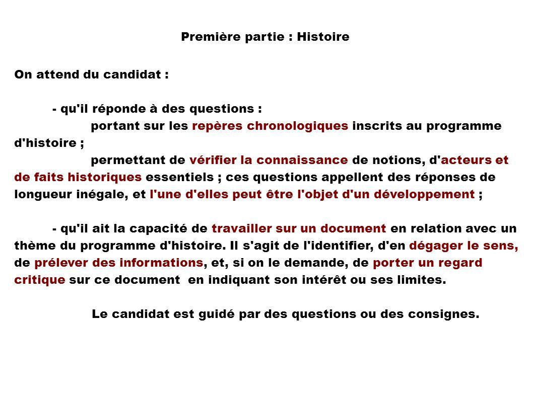 On attend du candidat : - qu'il réponde à des questions : portant sur les repères chronologiques inscrits au programme d'histoire ; permettant de véri