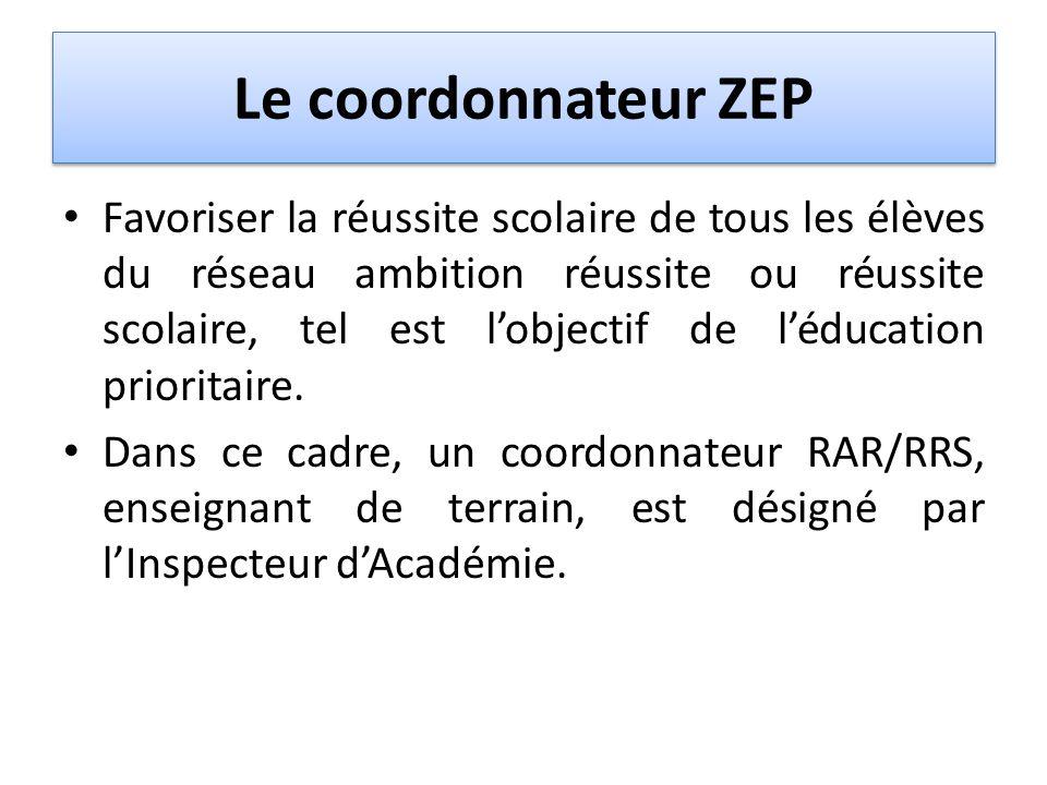 Le coordonnateur ZEP Favoriser la réussite scolaire de tous les élèves du réseau ambition réussite ou réussite scolaire, tel est lobjectif de léducati