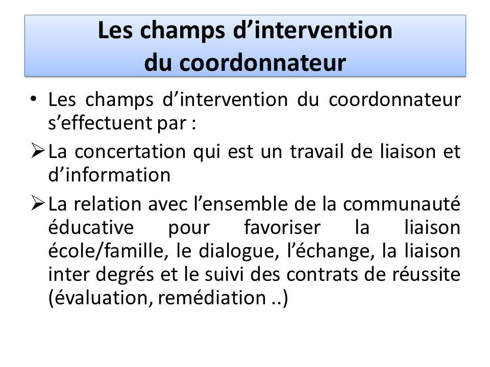 Les champs dintervention du coordonnateur Les champs dintervention du coordonnateur seffectuent par : La concertation qui est un travail de liaison et