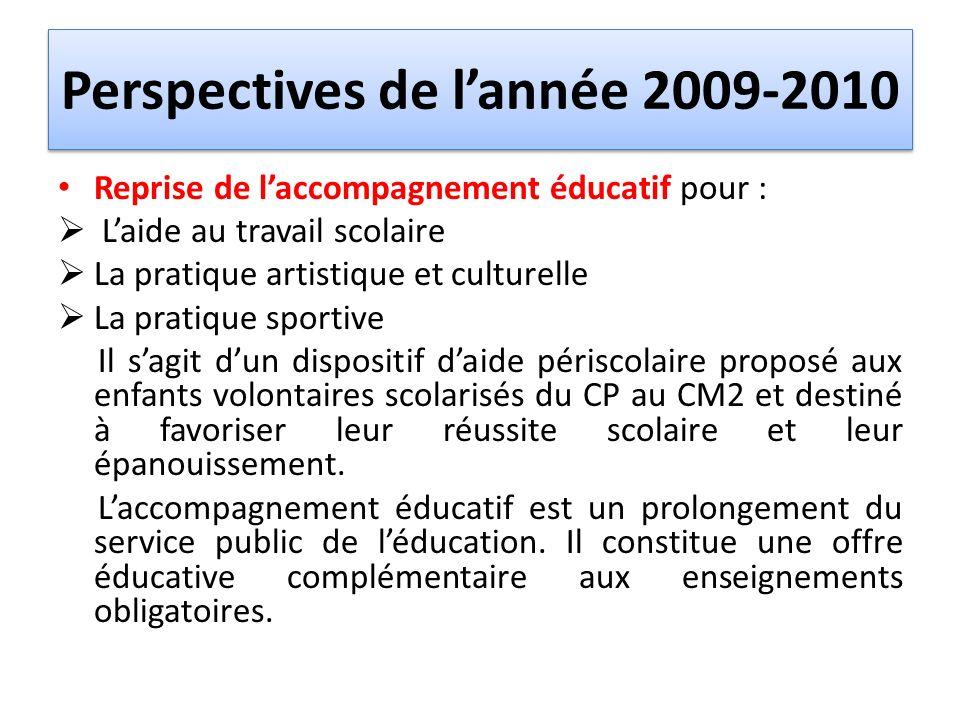 Perspectives de lannée 2009-2010 Reprise de laccompagnement éducatif pour : Laide au travail scolaire La pratique artistique et culturelle La pratique