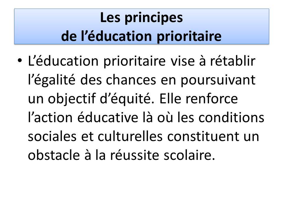 Les principes de léducation prioritaire Léducation prioritaire vise à rétablir légalité des chances en poursuivant un objectif déquité. Elle renforce