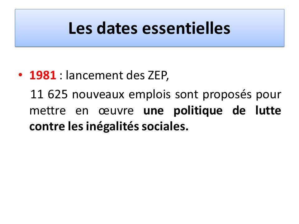 Les dates essentielles 1981 : lancement des ZEP, 11 625 nouveaux emplois sont proposés pour mettre en œuvre une politique de lutte contre les inégalit
