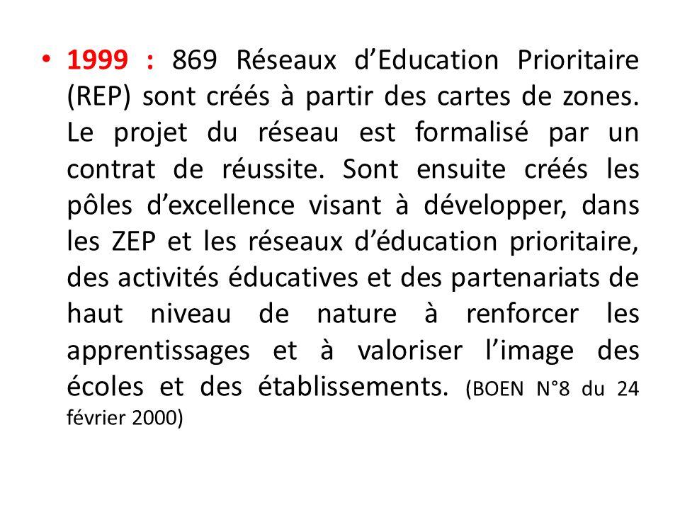 1999 : 869 Réseaux dEducation Prioritaire (REP) sont créés à partir des cartes de zones. Le projet du réseau est formalisé par un contrat de réussite.