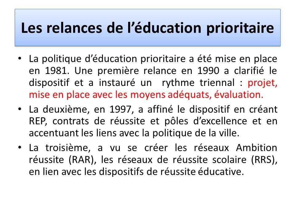 Les relances de léducation prioritaire La politique déducation prioritaire a été mise en place en 1981. Une première relance en 1990 a clarifié le dis