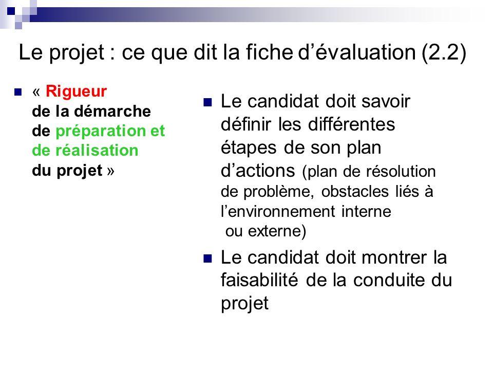 Le projet : ce que dit la fiche dévaluation (2.2) « Rigueur de la démarche de préparation et de réalisation du projet » Le candidat doit savoir défini