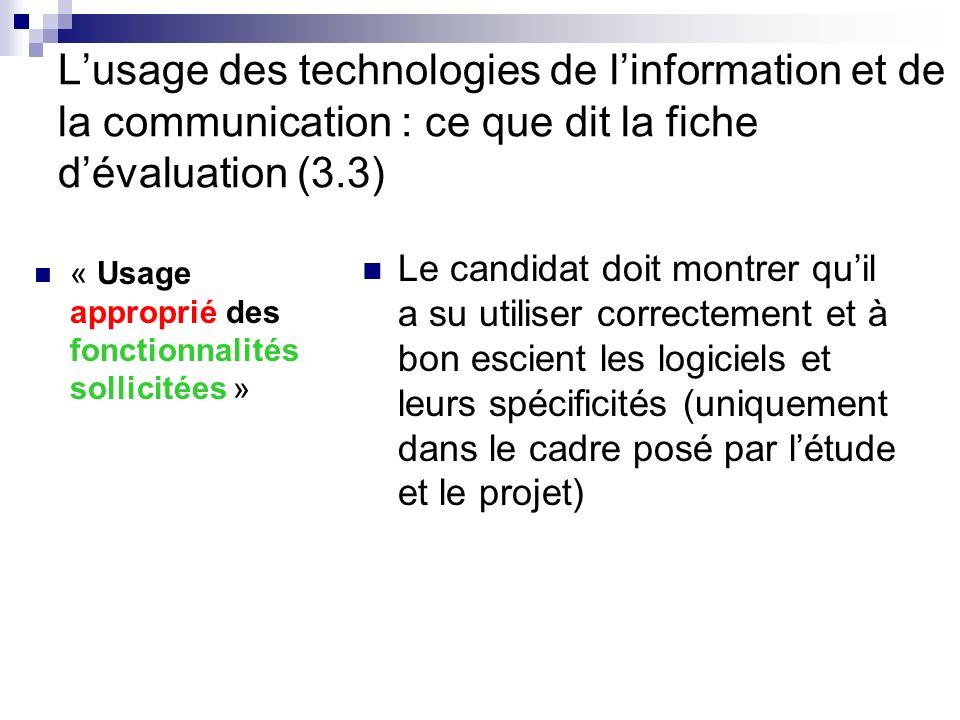 Lusage des technologies de linformation et de la communication : ce que dit la fiche dévaluation (3.3) « Usage approprié des fonctionnalités sollicité