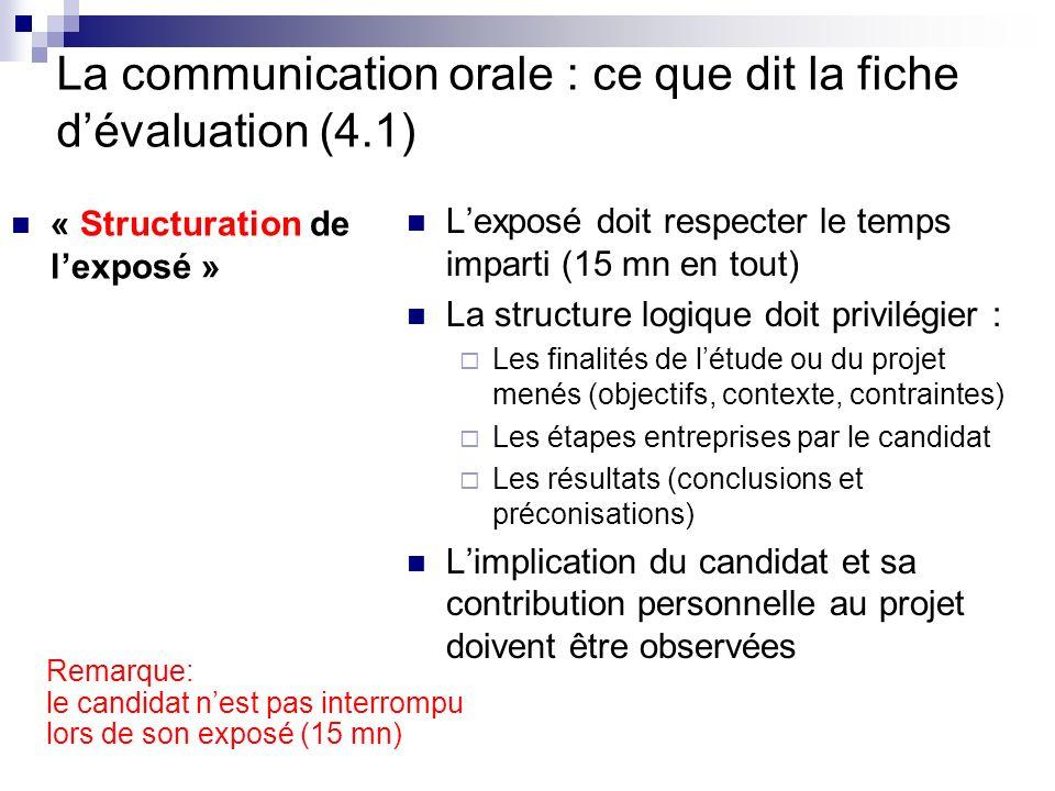 La communication orale : ce que dit la fiche dévaluation (4.1) « Structuration de lexposé » Lexposé doit respecter le temps imparti (15 mn en tout) La