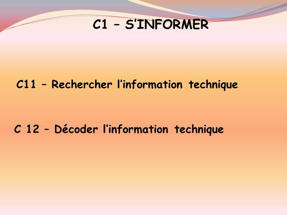 5 –LES COMPETENCES Elles prennent appui sur quatre capacités : C1 Sinformer C2 Sorganiser C3 Réaliser C4 Communiquer