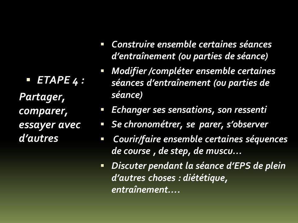 ETAPE 4 : Partager, comparer, essayer avec dautres Construire ensemble certaines séances dentraînement (ou parties de séance) Modifier /compléter ense