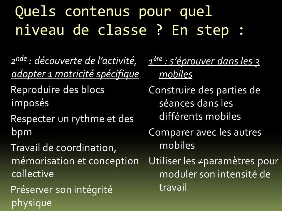 Quels contenus pour quel niveau de classe ? En step : 2 nde : découverte de lactivité, adopter 1 motricité spécifique Reproduire des blocs imposés Res