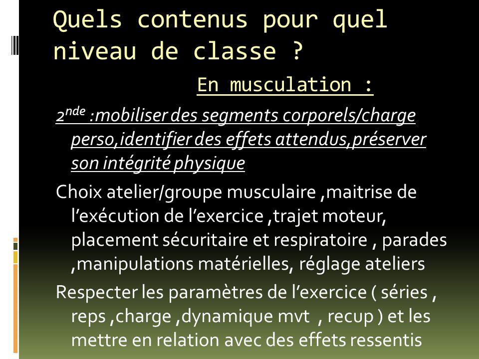 Quels contenus pour quel niveau de classe ? En musculation : 2 nde :mobiliser des segments corporels/charge perso,identifier des effets attendus,prése