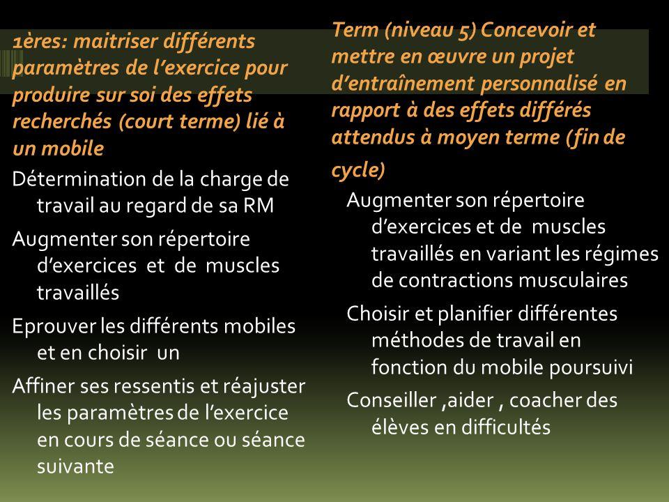 1ères: maitriser différents paramètres de lexercice pour produire sur soi des effets recherchés (court terme) lié à un mobile Détermination de la char