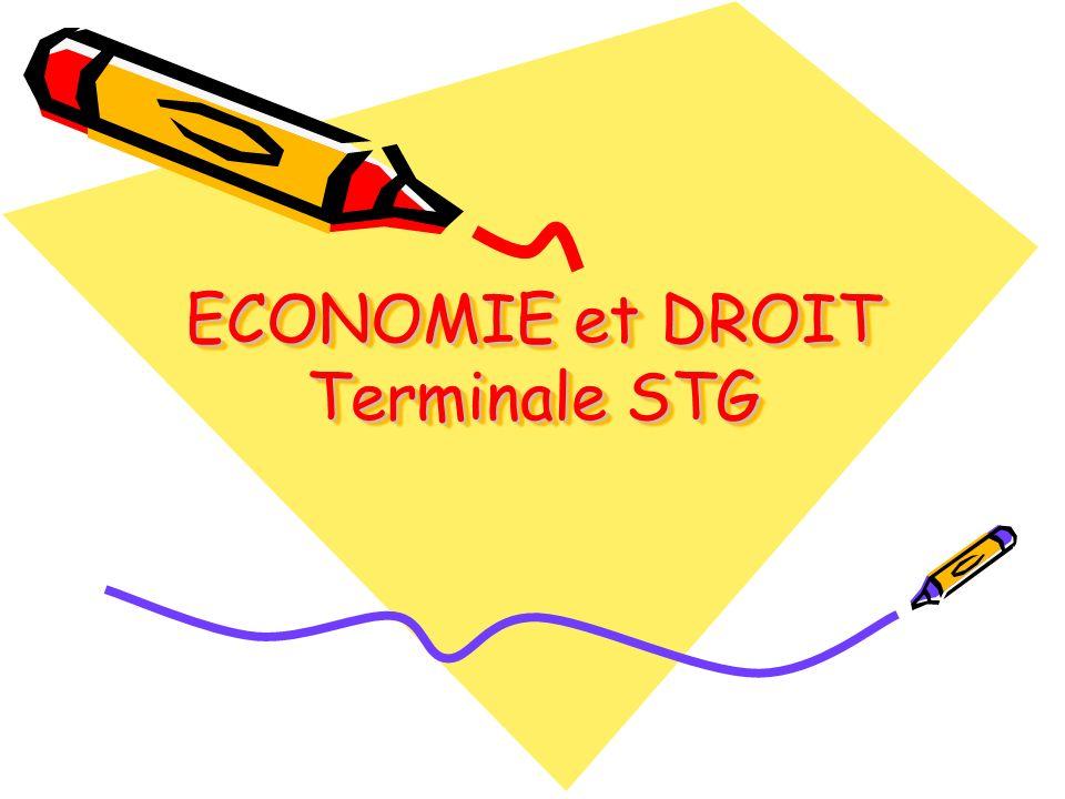 ECONOMIE et DROIT Terminale STG