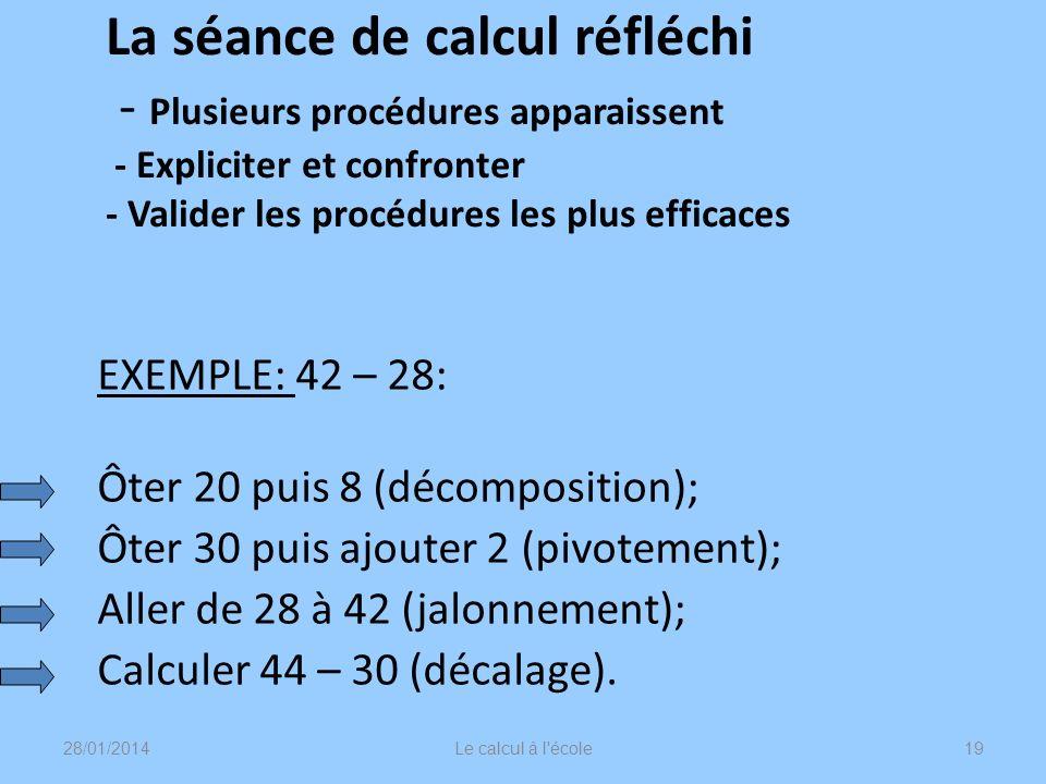 La séance de calcul réfléchi - Plusieurs procédures apparaissent - Expliciter et confronter - Valider les procédures les plus efficaces EXEMPLE: 42 –