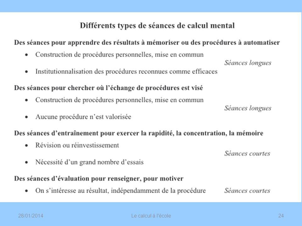 28/01/2014Le calcul à l'école24