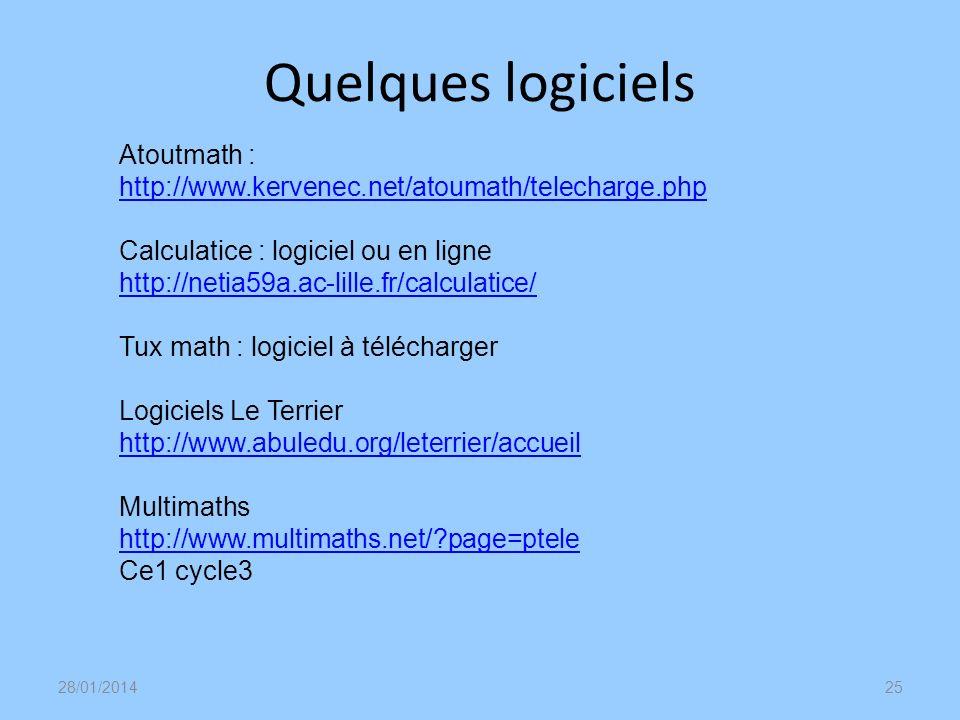 Quelques logiciels 28/01/201425 Atoutmath : http://www.kervenec.net/atoumath/telecharge.php http://www.kervenec.net/atoumath/telecharge.php Calculatic