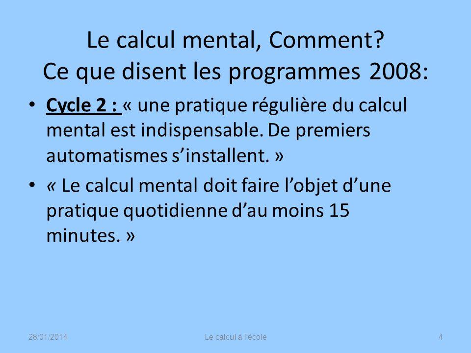 Le calcul mental, Comment? Ce que disent les programmes 2008: Cycle 2 : « une pratique régulière du calcul mental est indispensable. De premiers autom