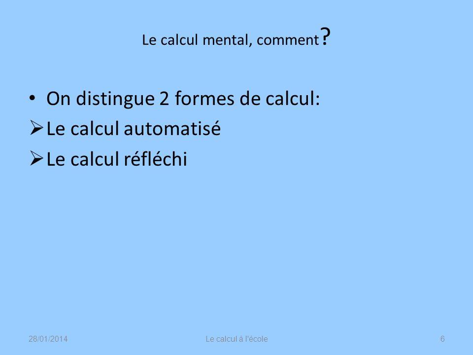 Le calcul mental automatisé 28/01/2014Le calcul à l école7 Il ne se réduit pas à lapprentissage de recettes calculatoires détachées de toute compréhension.
