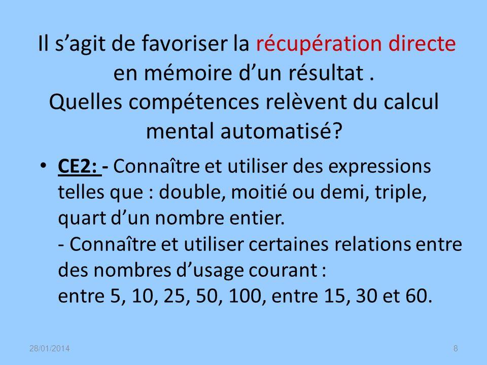 Il sagit de favoriser la récupération directe en mémoire dun résultat. Quelles compétences relèvent du calcul mental automatisé? CE2: - Connaître et u