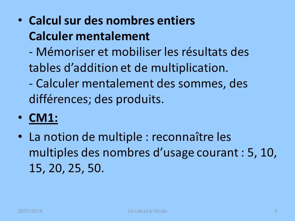 Calcul sur des nombres entiers Calculer mentalement - Mémoriser et mobiliser les résultats des tables daddition et de multiplication. - Calculer menta