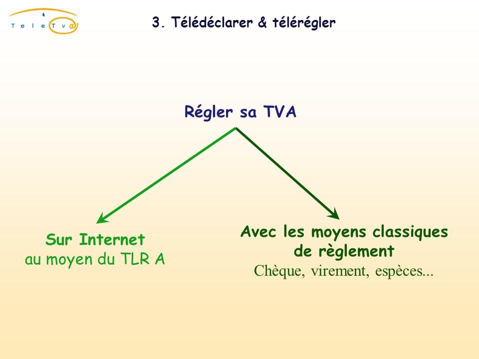 3. Télédéclarer & télérégler Régler sa TVASur Internet au moyen du TLR A Avec les moyens classiques de règlement Chèque, virement, espèces...