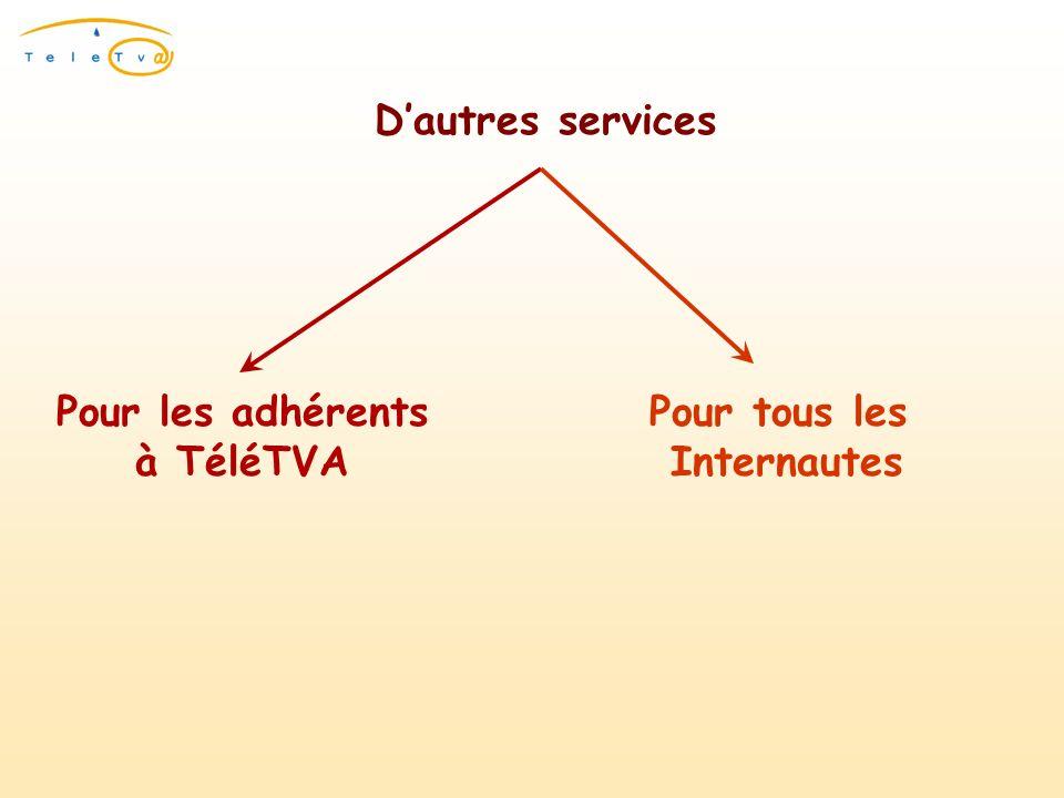 Dautres services Pour les adhérents à TéléTVA Pour tous les Internautes
