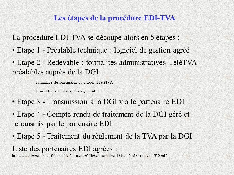 Les étapes de la procédure EDI-TVA La procédure EDI-TVA se découpe alors en 5 étapes : Etape 1 - Préalable technique : logiciel de gestion agréé Etape