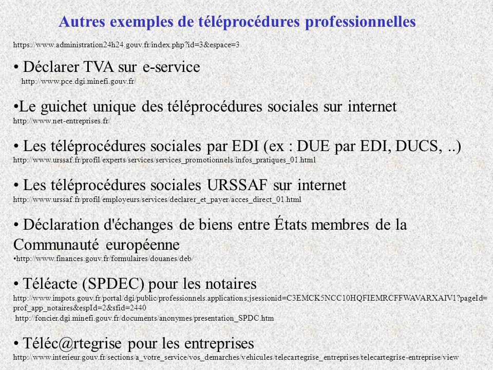 Autres exemples de téléprocédures professionnelles Déclarer TVA sur e-service http://www.pce.dgi.minefi.gouv.fr/ Le guichet unique des téléprocédures