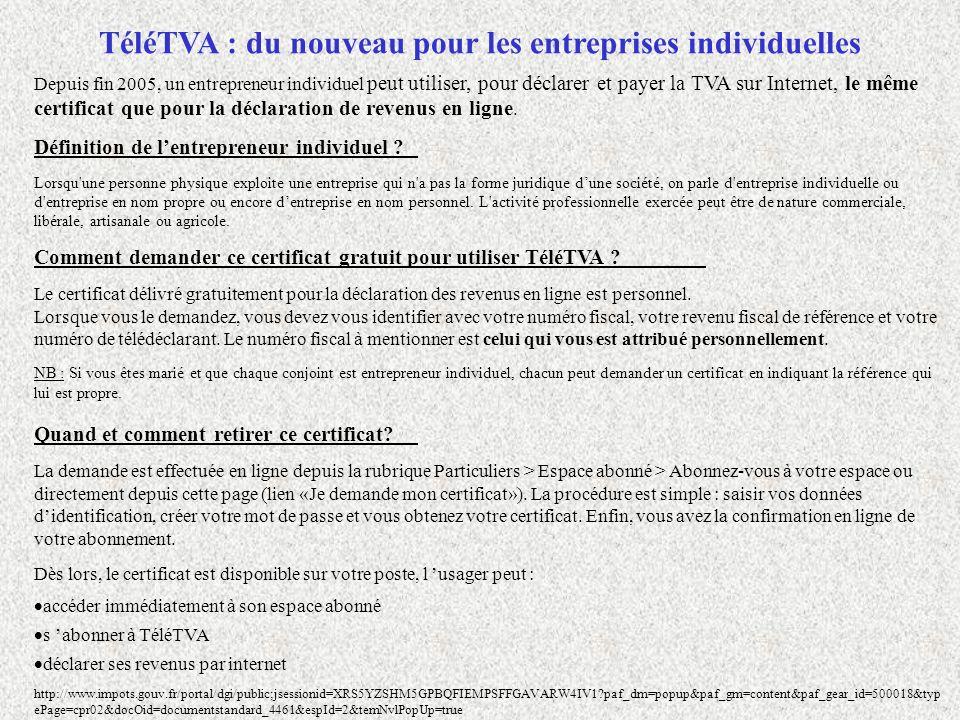 Depuis fin 2005, un entrepreneur individuel peut utiliser, pour déclarer et payer la TVA sur Internet, le même certificat que pour la déclaration de r