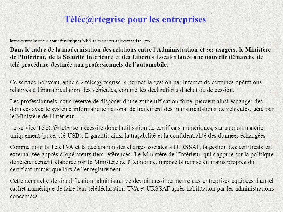 http://www.interieur.gouv.fr/rubriques/b/b8_teleservices/telecartegrise_pro Dans le cadre de la modernisation des relations entre l'Administration et